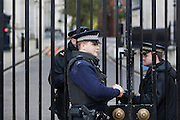 Armed police guard the gates to Downing Street, home to David Cameron the British prime minister.
