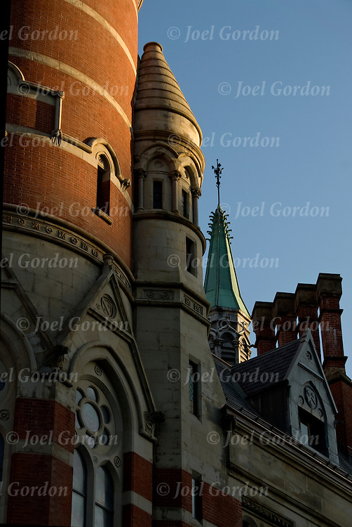 Victorian Gothic architectural style of the Jefferson Market Library in Greenwich Village. This building is a New York City Landmark. Photo taken before sunset.