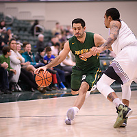 5th year guard Alex Igual (4) of the Regina Cougars during the Men's Basketball home game on November 11 at Centre for Kinesiology, Health and Sport. Credit: Arthur Ward/Arthur Images