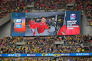 Teams emerge from the tunnel before kick-off in the Johnstone's Paint Trophy Final between Barnsley and Oxford United at Wembley Stadium, London, England on 3 April 2016. Photo by Mark P Doherty.
