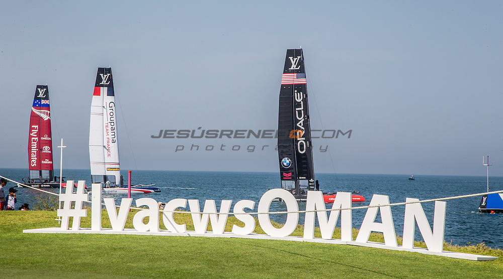 Louis Vuitton America's Cup World Series 2016 Oman. Artemis Racing,Nathan Outteridge,Iain Percy,Luke Parkinson,Kalle Torlen,Chris Brittle. Muscat ,The Sultanate of Oman.Image licensed to Jesus Renedo/Lloyd images/Oman Sail