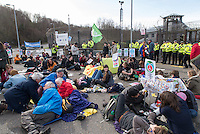 Scottish activist demonstrating at Faslane Trident base where Great Britain keeps its nuclear submarines.
