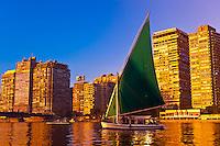 Feluccas sailing along the Nile River at sunrise, Cairo, Egypt