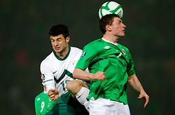 Bojan Jokic of Slovenia vs  Corry Evans of Northern Ireland during EURO 2012 Quaifications game between National teams of Slovenia and Northern Ireland, on March 29, 2011, in Windsor Park Stadium, Belfast, Northern Ireland, United Kingdom. (Photo by Vid Ponikvar / Sportida)