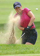 Tara Fiscella, of Newtown, blasts out of a bunker on th 13th hole of Ridgewood Country Club in Danbury.  Fiscella lost her second round match of the annual tourny to Donna Harris of Avon in match play on the 12th of june