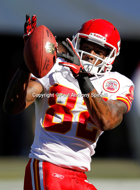 Kansas City Chiefs wide receiver Dwayne Bowe (82) catches a pass during the NFL week 14 football game against the San Diego Chargers on Sunday, December 12, 2010 in San Diego, California. The Chargers won the game 31-0. (©Paul Anthony Spinelli)