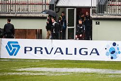 Football match between NK Triglav and FC Luka Koper, 23th Round of Prva Liga was canceled due water on field, March 23, 2014 at Sport park Kranj, Slovenia. (Photo By Grega Valancic / Sportida.com)