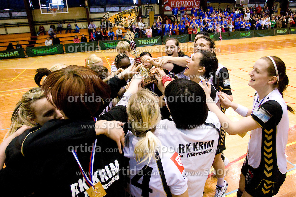 Team of RK Krim lifting trophy at last 10th Round handball match of Slovenian Women National Championships between RK Krim Mercator and RK Olimpija, on May 15, 2010, in Galjevica, Ljubljana, Slovenia. Olimpija defeated Krim 39-36, but Krim became Slovenian National Champion. (Photo by Vid Ponikvar / Sportida)