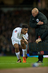 LONDON, ENGLAND - Tuesday, February 9, 2016: Liverpool's substitute Daniel Sturridge changes his boots during the FA Cup 4th Round Replay match against West Ham United at Upton Park. (Pic by David Rawcliffe/Propaganda)