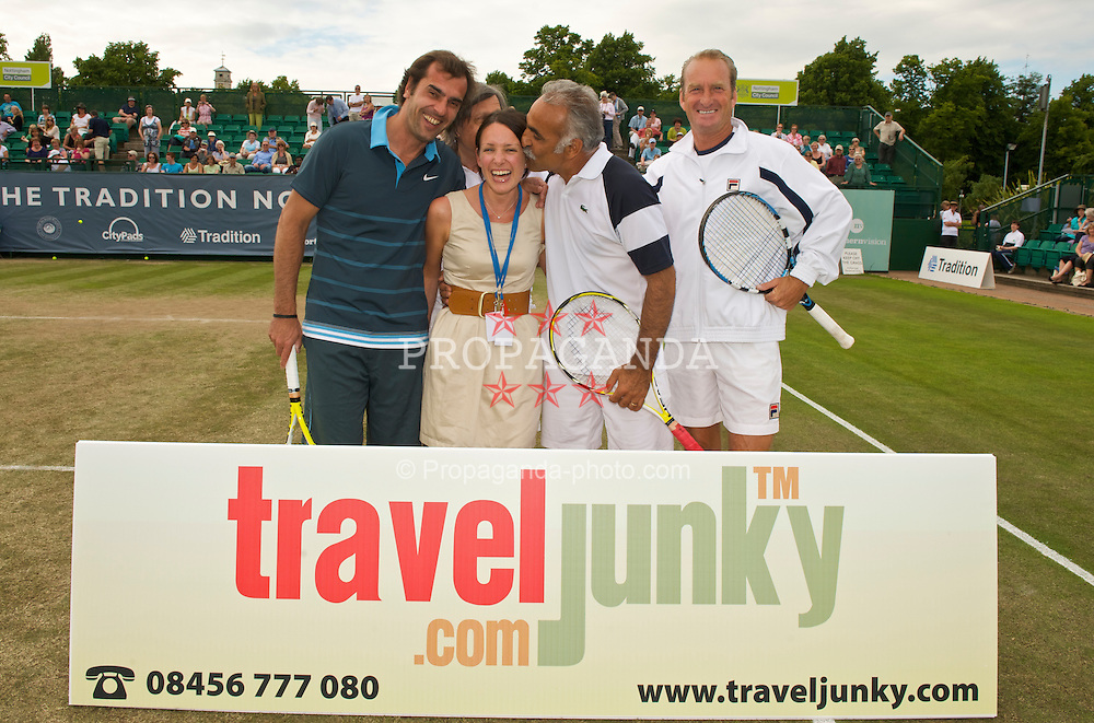 NOTTINGHAM, ENGLAND - Friday, June 12, 2009: Cedric Pioline (FRA), Ilie Nastase (ROU), Michelle Bennett, Mansour Bahrami (IRN) and Peter McNamara (AUS) on day two of the Tradition Nottingham Masters tennis event at the Nottingham Tennis Centre. (Pic by David Rawcliffe/Propaganda)
