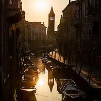 Sunrise on the Rio De St. Barnaba canal, Venice, Itally