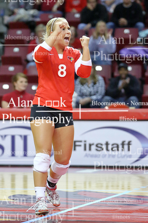 09 October 2009: Kasey Mollerus celebrates a point by the Redbirds. The Redbirds of Illinois State defeated the Braves of Bradley in 3 sets during play in the Redbird Classic on Doug Collins Court inside Redbird Arena in Normal Illinois