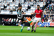 Newcastle United forward Ayoze Perez (#17) shoots during the EFL Sky Bet Championship match between Newcastle United and Barnsley at St. James's Park, Newcastle, England on 7 May 2017. Photo by Craig Doyle.