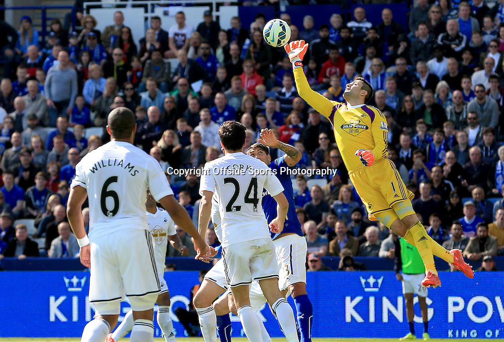 18th April 2015 - Barclays Premier League - Leicester City v Swansea - Swansea keeper Lukasz Fabianski dives out to deny a Leicester City chance - Photo: Paul Roberts / Offside.