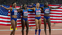 Athletics - 2017 IAAF London World Athletics Championships - Day Nine, Evening Session<br /> <br /> Womens 4 x 100m Relay<br /> <br /> Team USA Aaliyah Brown, Aliyson Felix, Morolake Akinosun and Tori Bowie celebrate winning the gold medal at the  London Stadium<br /> <br /> COLORSPORT/DANIEL BEARHAM