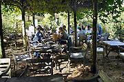 Nederland, Millingen aan de Rijn, 3-10-2012De Millinger Theetuin. De theetuin in de Millingerwaard trekt veel recreanten en dagjesmensen die op de fiets of via een wandeling door het natuurgebied de Gelderse Poort even rust nemen.FOTO: FLIP FRANSSEN/ HOLLANDSE HOOGTE