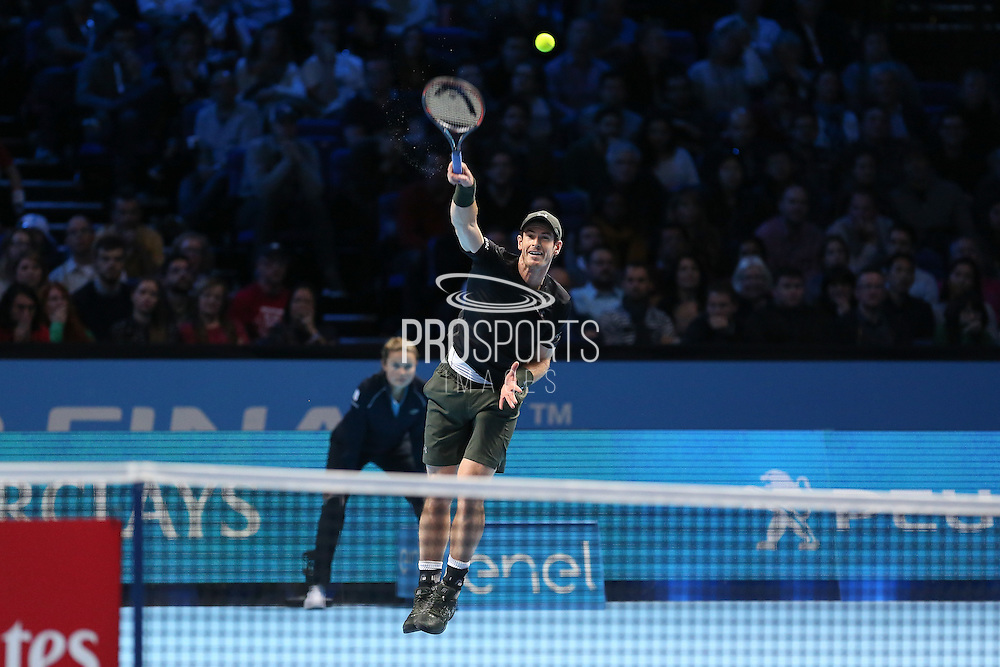 Andy Murray (Great Britain) serves during the final of the Barclays ATP World Tour Finals at the O2 Arena, London, United Kingdom on 20 November 2016. Photo by Phil Duncan.