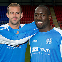 St Johnstone Training....03.09.12<br /> Rowan Vine pictured with his trike partner Gregory Tade after the official photocall<br /> Picture by Graeme Hart.<br /> Copyright Perthshire Picture Agency<br /> Tel: 01738 623350  Mobile: 07990 594431