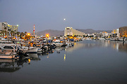 Yacht club in Eilat, Israel at dusk
