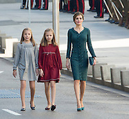 Madrid, 17-11-2016 <br /> <br /> King Felipe and Queen Letitzia and their daughters Princess Leonor and Princess Sofia at the SOLEMNE OPENING CEREMONY OF THE XII LEGISLATURE.<br /> <br /> COPYRIGHT ROYALPORTRAITS EUROPE/ BERNARD RUEBSAMEN