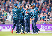 Picture by Allan McKenzie/SWpix.com - 19/05/2019 - Sport - Cricket - 5th Royal London One Day International - England v Pakistan - Emerald Headingley Cricket Ground, Leeds, England - England's Adil Rashid is congratulated on taking a catch from his own bowling to dismiss Pakistan's Shoaib Malik.