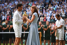Duchess Of Cambridge Presents Djokovic With The Trophy - 14 July 2019