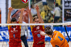 13-04-2019 NED: Achterhoek Orion - Draisma Dynamo, Doetinchem<br /> Orion win the fourth set and play the final round against Lycurgus. Dynamo won 2-3 / Renzo Verschuren #9 of Dynamo, Wessel Blom #13 of Dynamo, Joris Marcelis #4 of Orion