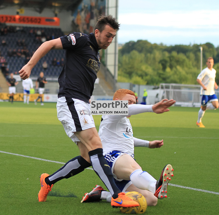 Falkirk V Peterhead PETROFAC TRAINING CUP 18 August 2015;  Falkirk's Lee Miller and Peterhead's Nathan Blockley during the Falkirk V Peterhead PETROFAC TRAINING CUP match played at The Falkirk Stadium, Falkirk.