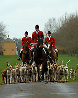 Fox Hunting.Hampshire, England, February 9th, 2005 - Vale of Aylesbury with Garth and south hunt, joint masters and hounds approaching the meet at Stratfield Saye House