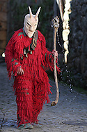"A Reveller with wooden mask and carnival garb during the traditional Celtic carnival ""Caretos"" in the village of Lazarim, central Portugal on February 17, 2015. PAULO CUNHA /4SEE"