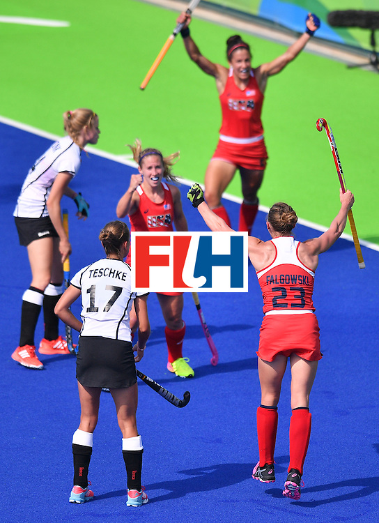 The USA's Katelyn Falgowski celebrates after socoring a goal during the women's quarterfinal field hockey USA vs Germany match of the Rio 2016 Olympics Games at the Olympic Hockey Centre in Rio de Janeiro on August 15, 2016. / AFP / Carl DE SOUZA        (Photo credit should read CARL DE SOUZA/AFP/Getty Images)