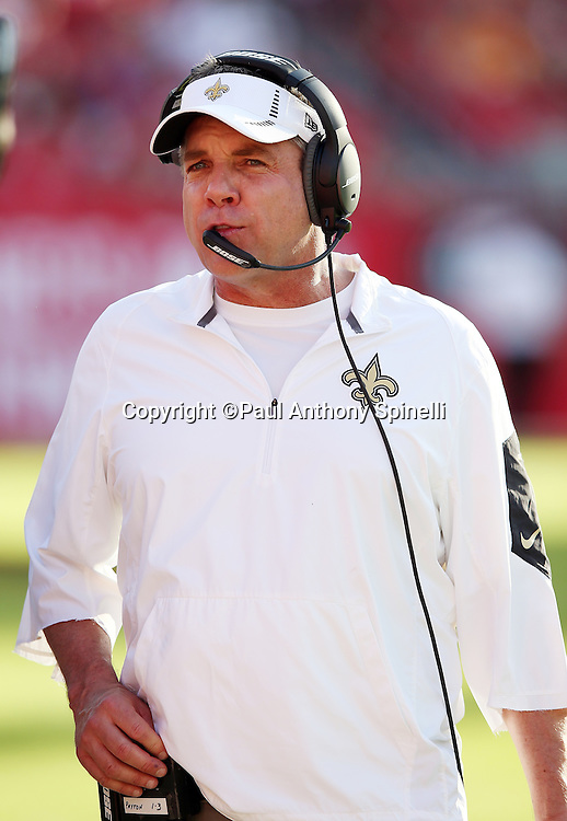 New Orleans Saints head coach Sean Payton looks on from the sideline during the 2015 week 14 regular season NFL football game against the Tampa Bay Buccaneers on Sunday, Dec. 13, 2015 in Tampa, Fla. The Saints won the game 24-17. (©Paul Anthony Spinelli)