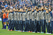 Scotland squad during the Remembrance Day one minute silence before the 2018 Autumn Test match between Scotland and Fiji at Murrayfield, Edinburgh, Scotland on 10 November 2018.