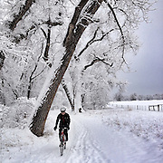 A winter cyclocross ride near Boulder, Colorado.