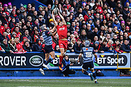 Scarlets' Tom Prydie takes the high ball - Mandatory by-line: Craig Thomas/Replay images - 31/12/2017 - RUGBY - Cardiff Arms Park - Cardiff , Wales - Blues v Scarlets - Guinness Pro 14