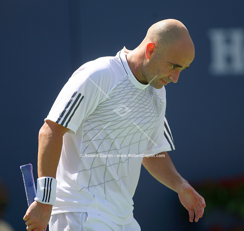 Andre Agassi gave an emotional farewell speech after losing to Benjamin Becker in their third round match-up at the  2006 US Open Sunday, Sept. 3, 2006.