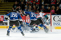 KELOWNA, CANADA - MARCH 11: Dillon Dube #19 of the Kelowna Rockets attempts to score a goal on Dylan Myskiw #33 of the Victoria Royals on March 11, 2017 at Prospera Place in Kelowna, British Columbia, Canada.  (Photo by Marissa Baecker/Shoot the Breeze)  *** Local Caption ***