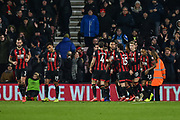 AFC Bournemouth Players Celebrate after AFC Bournemouth Forward, Josh King (17) scores to make it 1-0 during the Premier League match between Bournemouth and Chelsea at the Vitality Stadium, Bournemouth, England on 30 January 2019.