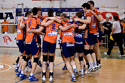 Players of ACH celebrate winning the final match of Slovenian National Volleyball Championships between ACH Volley Bled and Salonit Anhovo, on April 24, 2010, in Radovljica, Slovenia. ACH Volley defeated Salonit 3rd time in 3 Rounds and became Slovenian National Champion.  (Photo by Vid Ponikvar / Sportida)