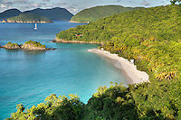 Trunk Bay and it's pristine unspoiled beach on the island of St. John in the United States Virgin Islands.