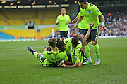 Brighton striker, Solomon March (20) celebrates opening the scoring with team mates during the Sky Bet Championship match between Leeds United and Brighton and Hove Albion at Elland Road, Leeds, England on 17 October 2015.