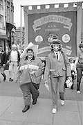Jean Walker & Sheila Close in front of the Thurcroft banner. 1988 Yorkshire Miner's Gala. Wakefield.