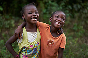 From left, Elizabeth and Aminata in the village of Baadu, Tankoro chiefdom, Kono district, Sierra Leone on March 25, 2017.