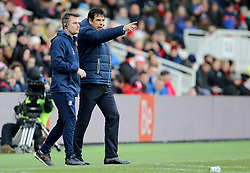 "Sunderland manager Chris Coleman and Robbie Stockdale during the FA Cup, third round match at the Riverside Stadium, Middlesbrough.PRESS ASSOCIATION Photo. Picture date: Saturday January 6, 2018. See PA story SOCCER Middlesbrough. Photo credit should read: Richard Sellers/PA Wire. RESTRICTIONS: EDITORIAL USE ONLY No use with unauthorised audio, video, data, fixture lists, club/league logos or ""live"" services. Online in-match use limited to 75 images, no video emulation. No use in betting, games or single club/league/player publications."