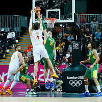 06 August 2012: Brazil Tiago Splitter tries to reject Spain Pau Gasol jumpshot during 88-82 Team Brazil victory over Team Spain, during the men's basketball preliminary, at the Basketball Arena, in London, Great Britain.