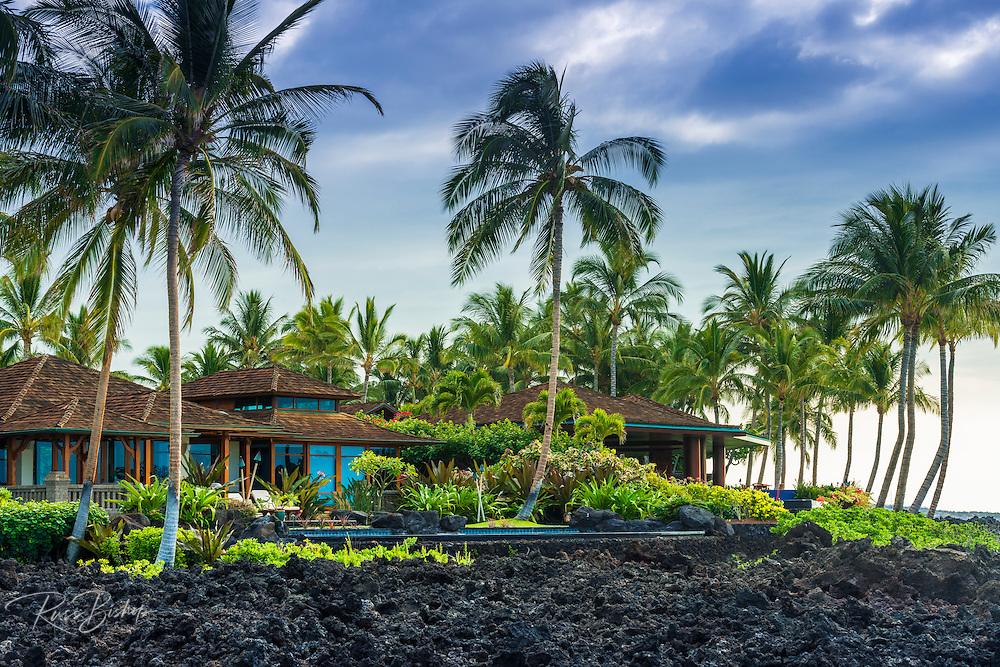 Oceanfront houses at Hualalai, Kohala Coast, The Big Island, Hawaii USA