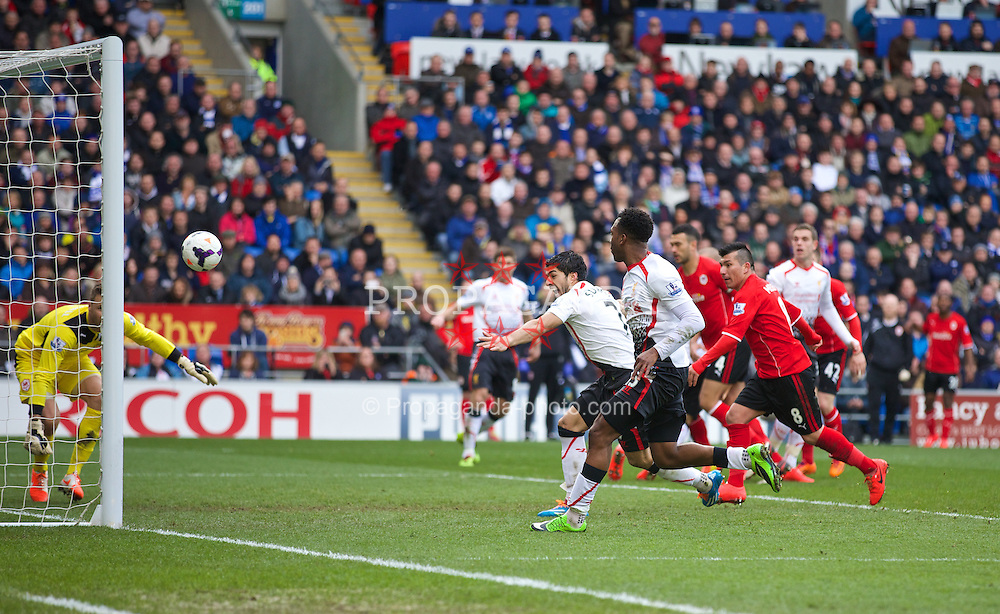 CARDIFF, WALES - Saturday, March 22, 2014: Liverpool's Martin Skrtel [hidden] scores the third goal against Cardiff City during the Premiership match at the Cardiff City Stadium. (Pic by David Rawcliffe/Propaganda)