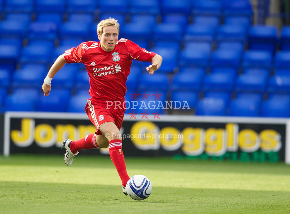 BIRKENHEAD, ENGLAND - Tuesday, August 3, 2010: Liverpool's Steven Irwin in action against Tranmere Rovers during a preseason friendly match at Prenton Park. (Pic by: David Rawcliffe/Propaganda)