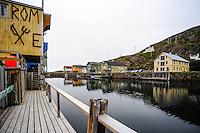 Norway, Vesteraalen. Nyksund is a coastal fishing village on the northern part of Langøya in Vesterålen. Now a popular tourist destination.