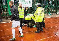 Security guard collapsed after the football match between NK Rudar and NK Olimpija Ljubljana in Round #35 of Prva liga Telekom Slovenije 2015/16, on May 14, 2016, in Stadium Ob jezeru, Velenje, Slovenia. NK Olimpija with this victory became Slovenian National Champion 2016. Photo by Vid Ponikvar / Sportida